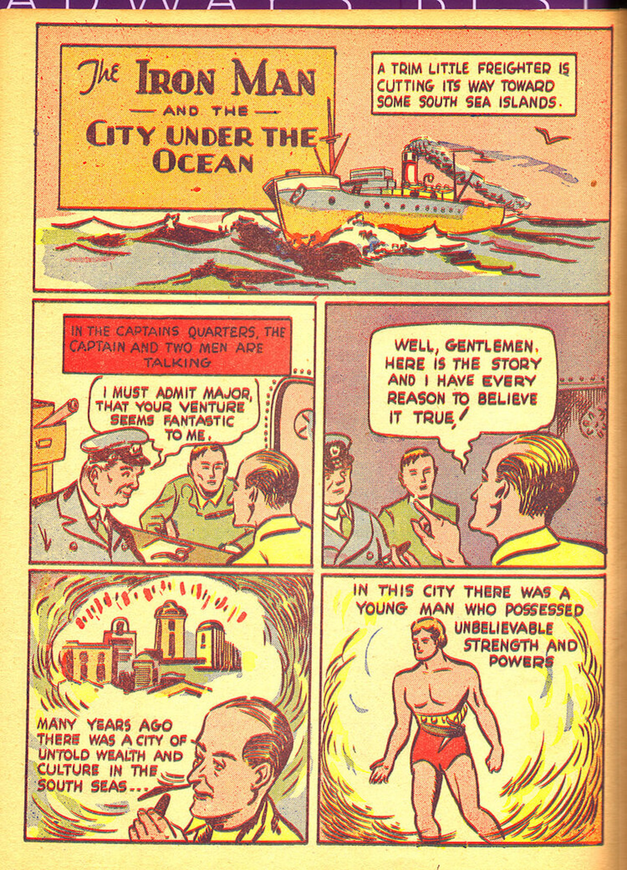 page of comic book featuring the exploits of the Iron Man