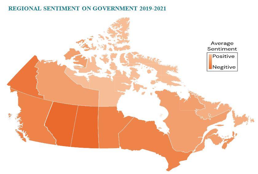 "orange map of Canada titled ""regional sentiments, 2019-21"""