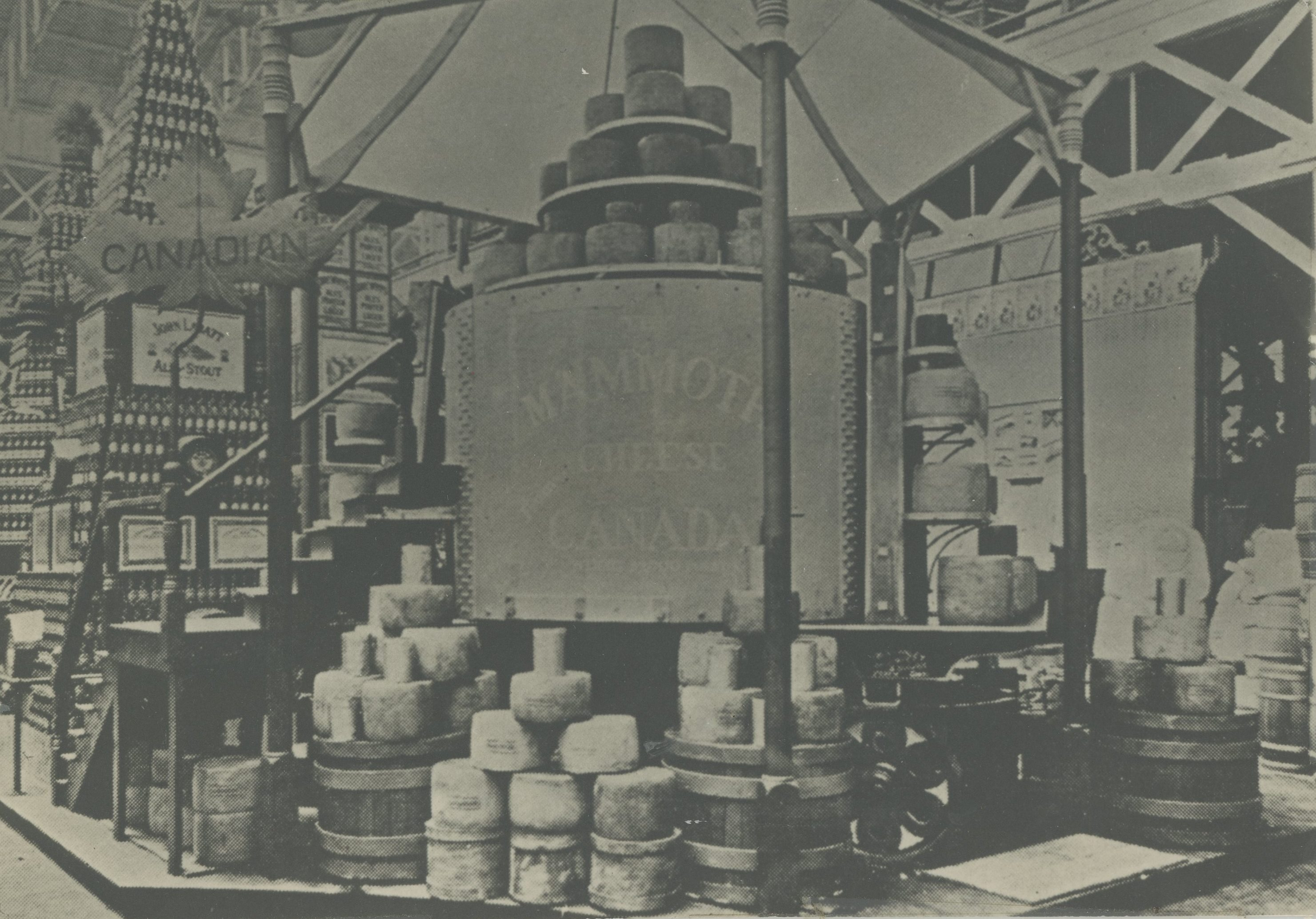 black and white photo of a giant cheese