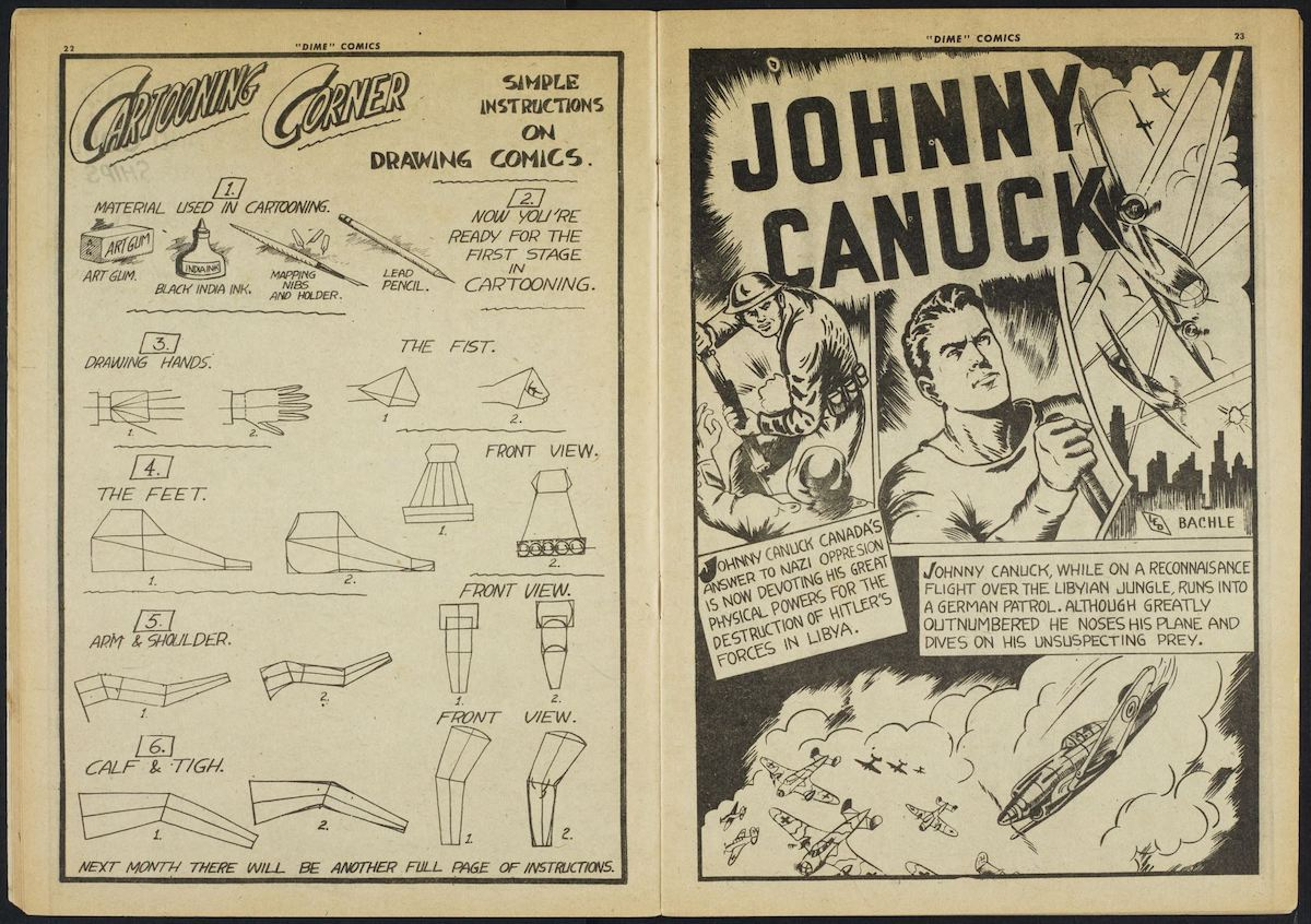 two-page comic spread featuring Johnny Canuck