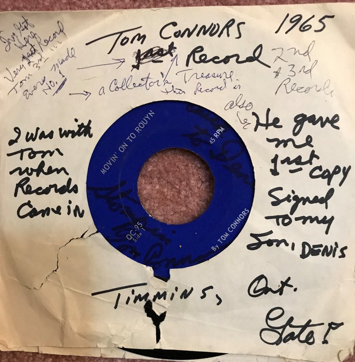 The first copy of Tom Connors' original EP, signed to Denise Lepine. (Courtesy of Denis Lepine)