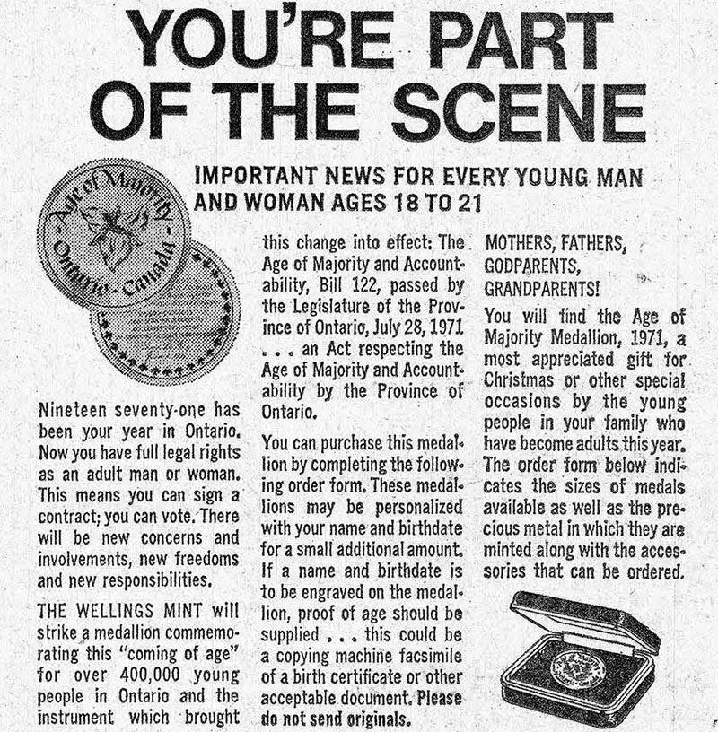 """ad — titled """"You're part of the scene"""" — for an age-of-majority medallion"""