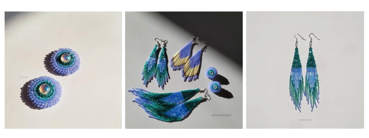 three photos of colourful earrings