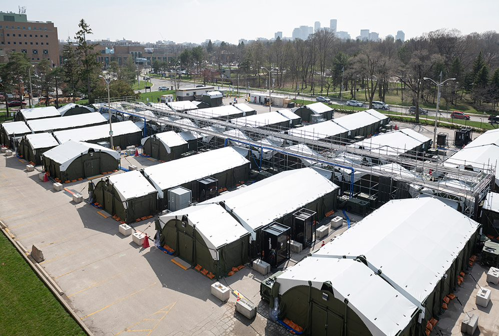 rows of green tents