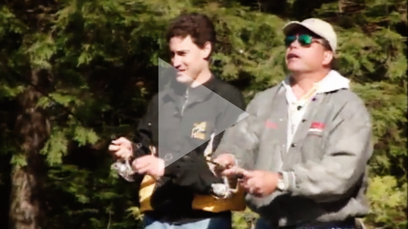 Steve Paikin and another man fish with fishing rods