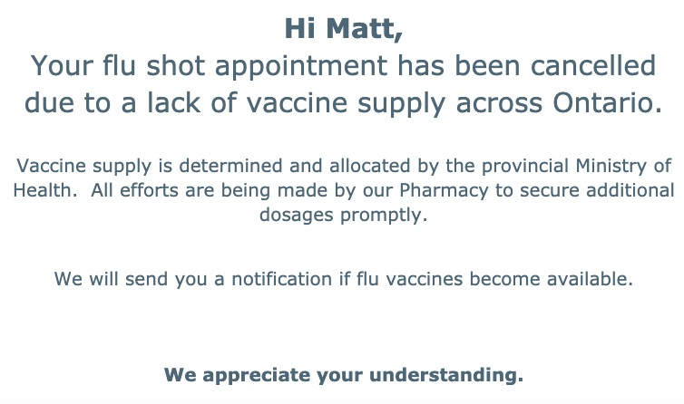 notification of flu-shot-appointment cancellation