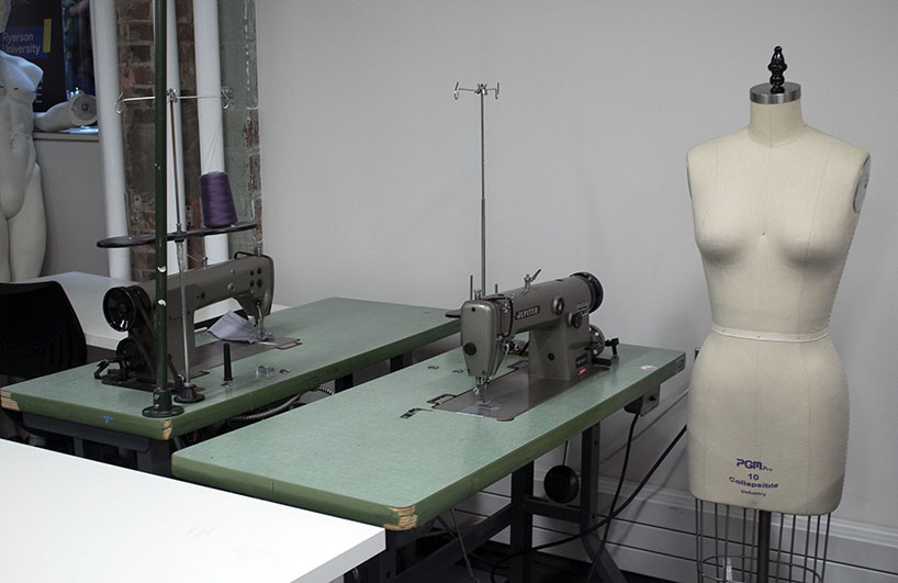 a sewing form next to a table with a sewing machine