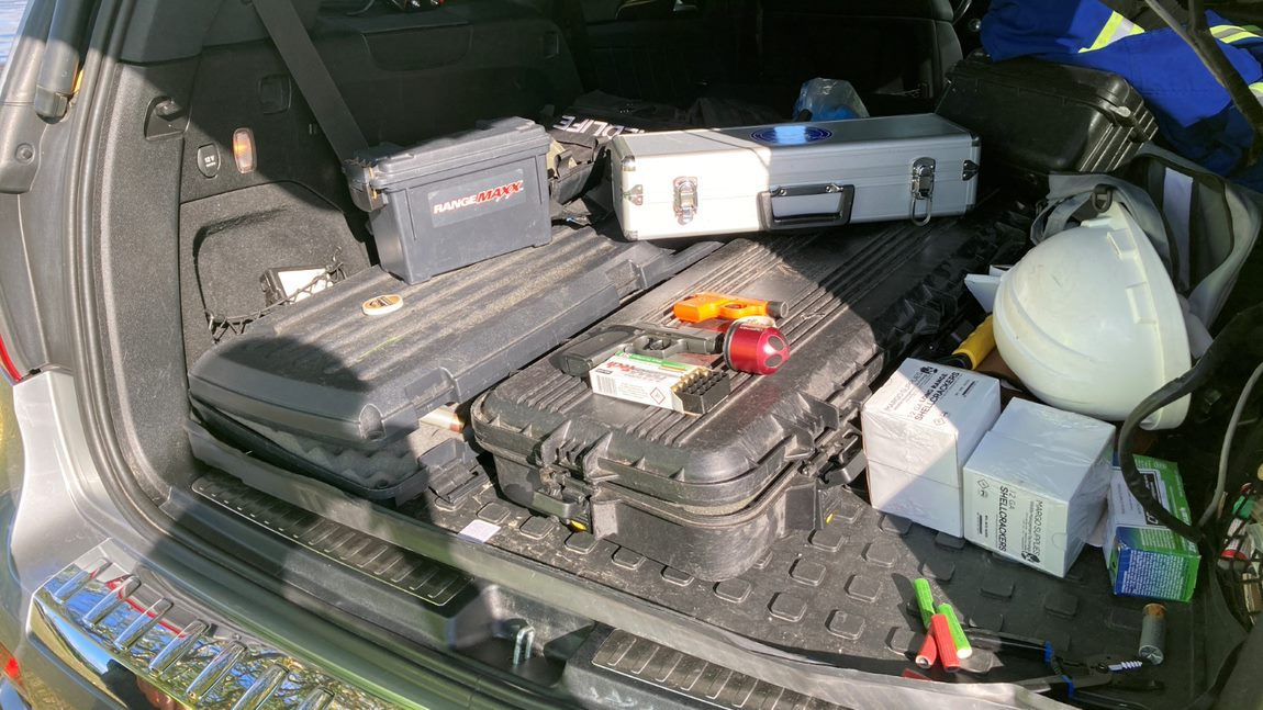 various devices in the back of an SUV
