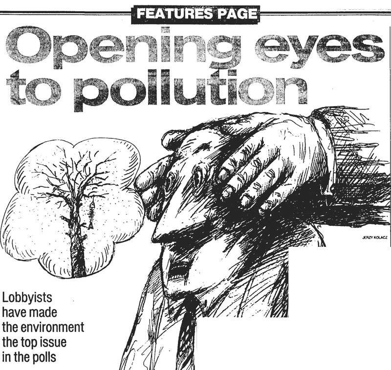 """illustration with the text """"opening our eyes to pollution"""""""