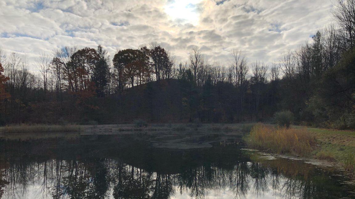 a lake at dusk