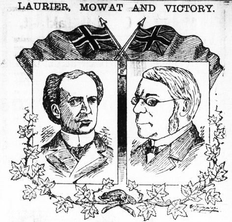 """cartoon showing two men facing each other, with the words """"Laurier, Mowat and victory"""""""