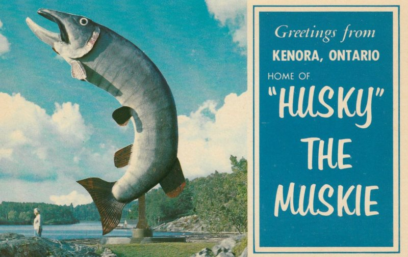 """postcard with a giant fish sculpture and text reading """"Greetings from Kenora, Ontario, home of 'Husky' the Muskie"""""""