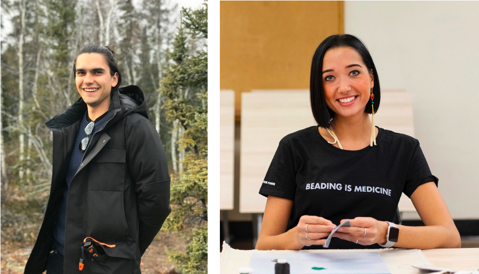 """left: man outside wearing coat; right: woman wearing shirt that says """"beading is medicine"""""""