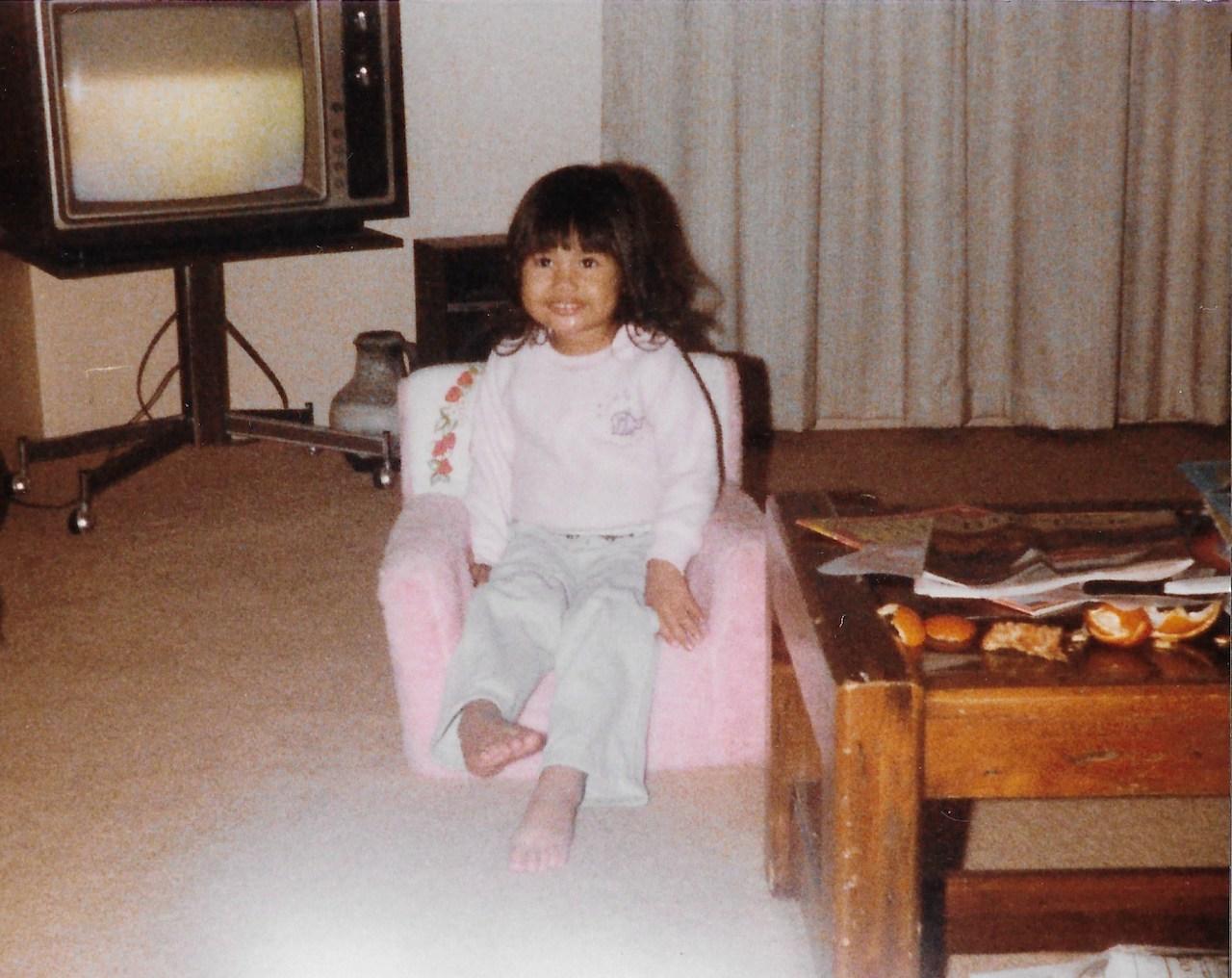 little girl in a living room