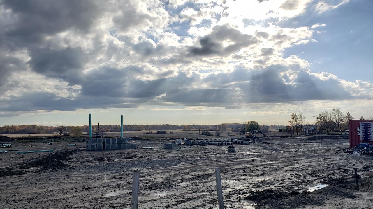 a construction site sits empty