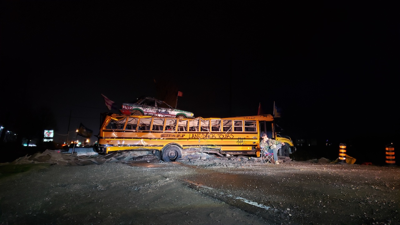 a school bus on a dark highway