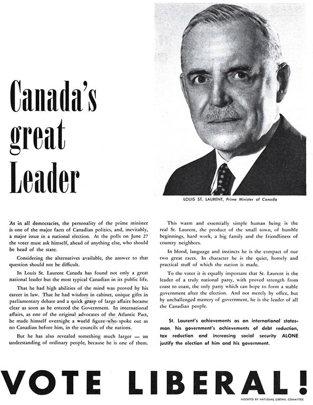 """ad titled """"Canada's great leader"""" with a black and white photo of a man"""