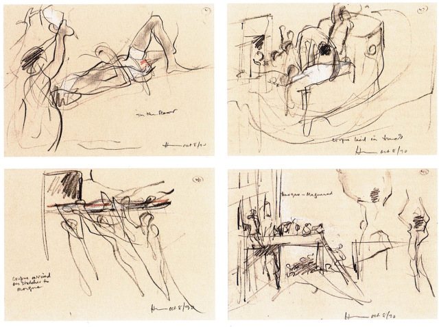 four drawings showing injured people