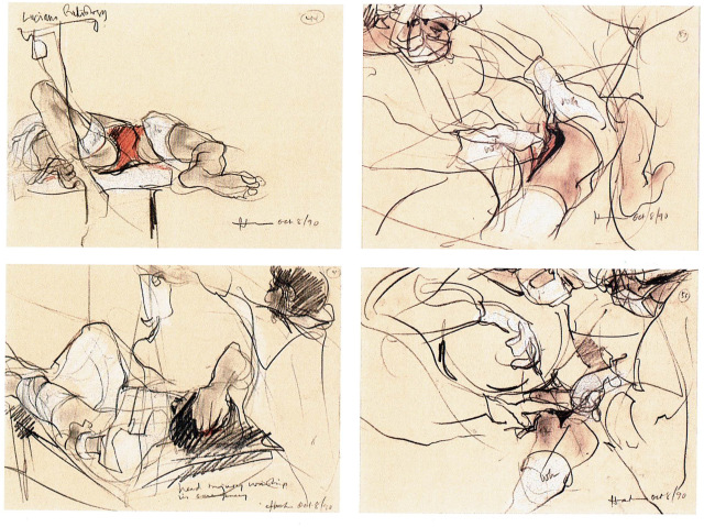 four line drawings of wounded people