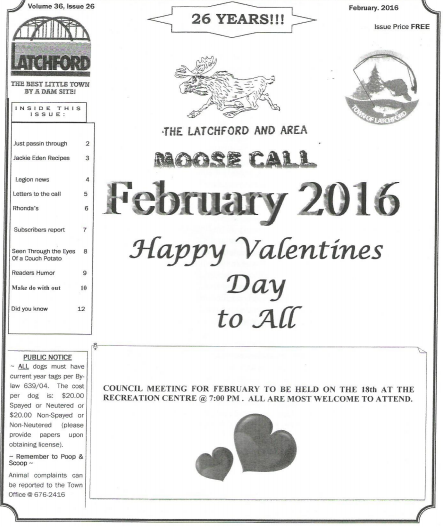 front page of a Moose Call newsletter