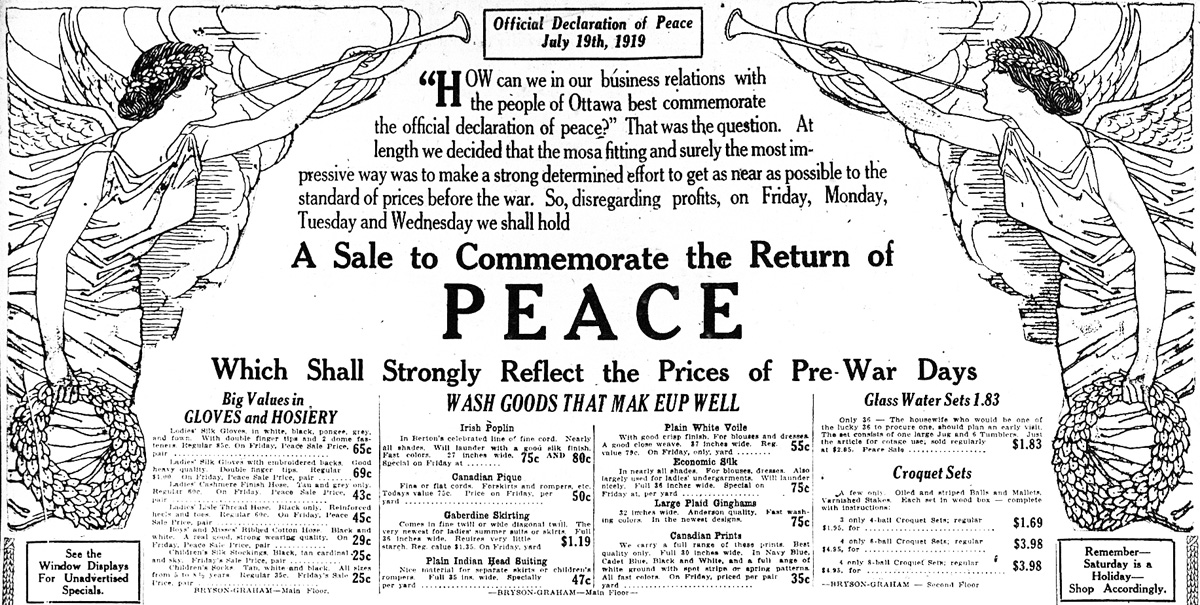 a newspaper ad for Peace Day in 1919
