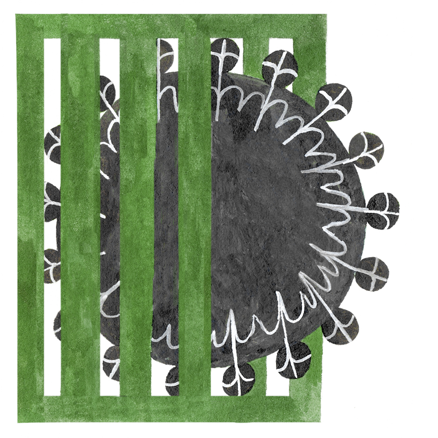 drawing of a black shape coming through green bars