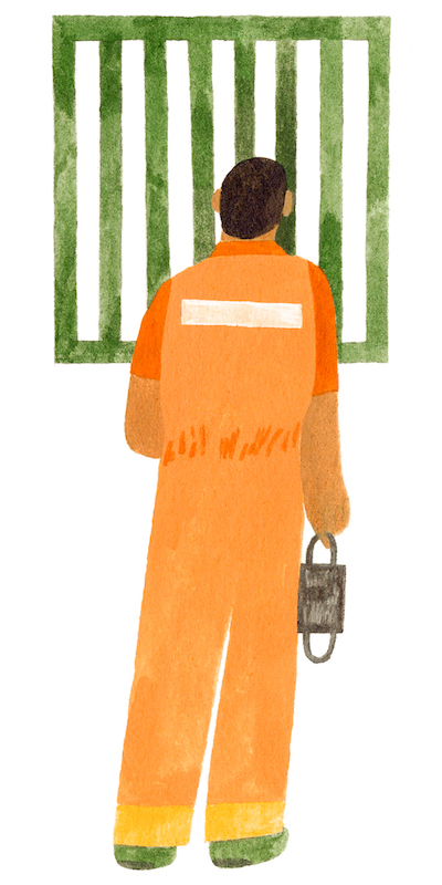 man in orange jumpsuit holding a mask in front of green bars