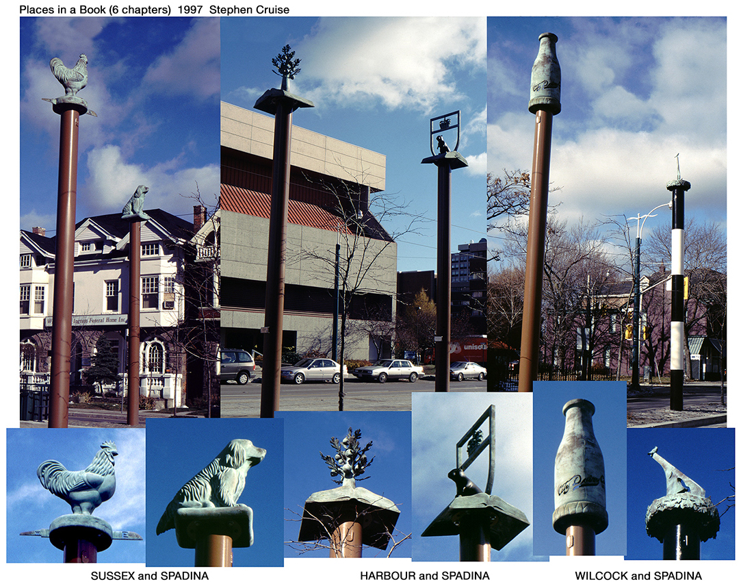 photos of sculptures of animals on top of lampposts
