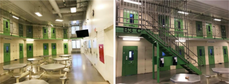 side-by-side photos of prison interiors