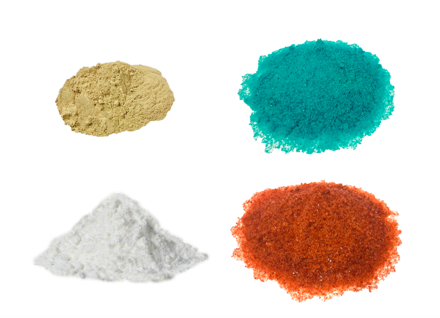 four different colours of powder