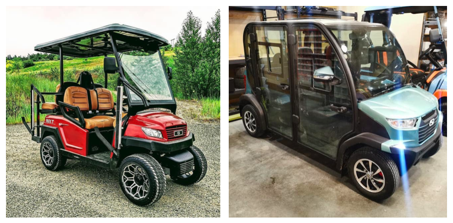 left: a vehicle resembling a golf cart; right: a small vehicle