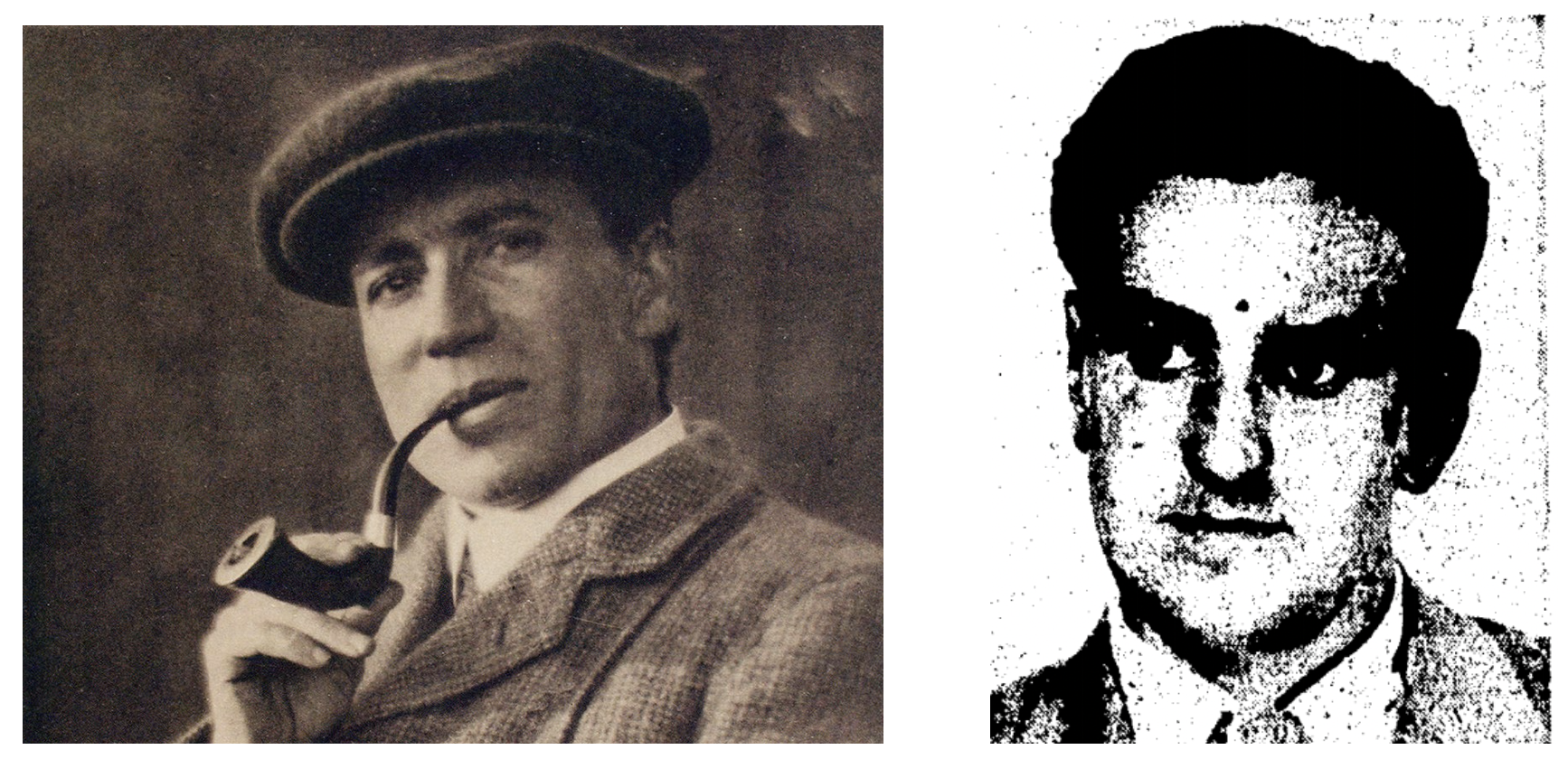 left: photo of man with cap and pipe; right: mug shot of short-haired man