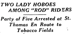 """headline about """"lady hoboes"""""""