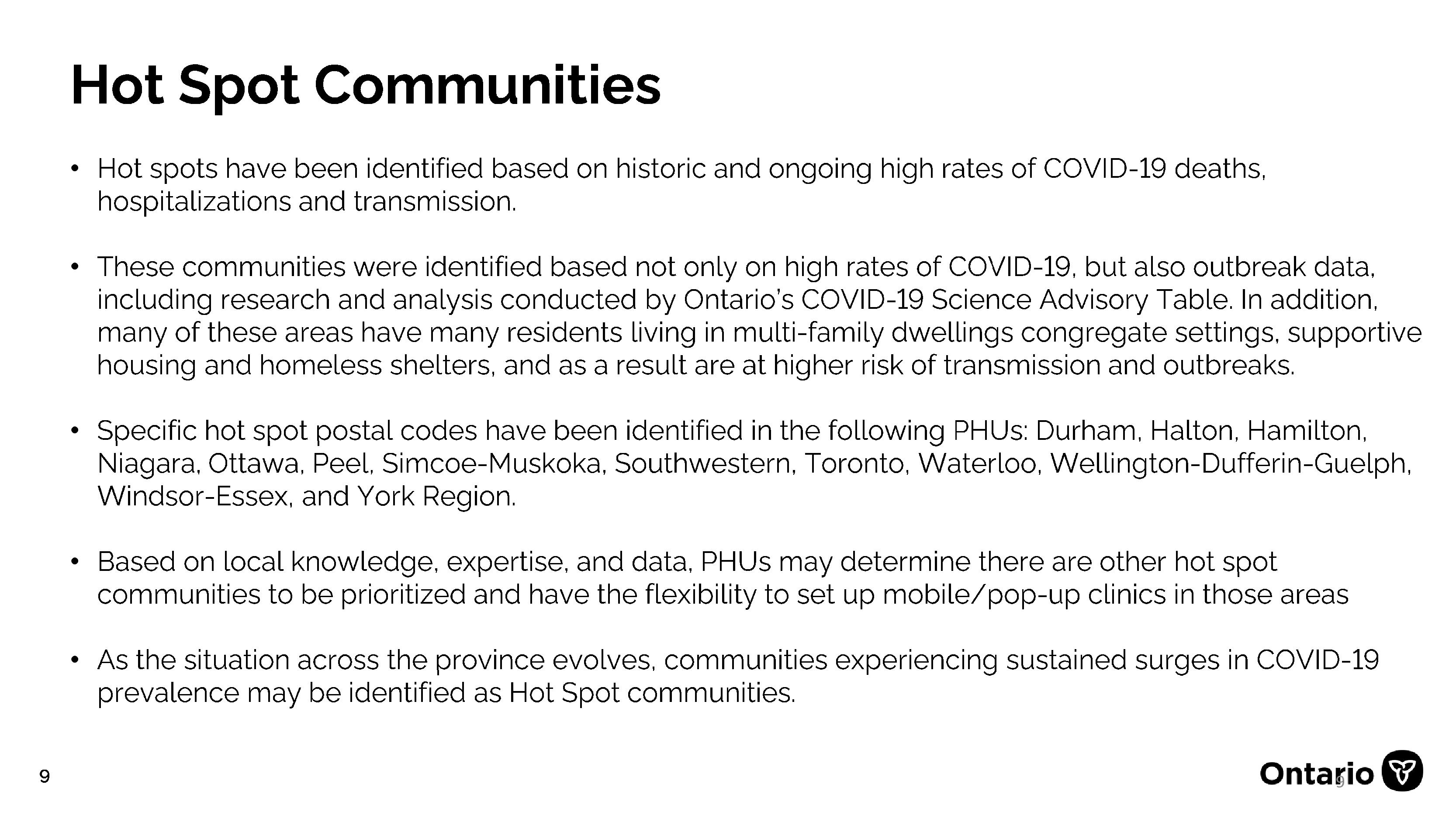 slide with a definition of COVID hot spots