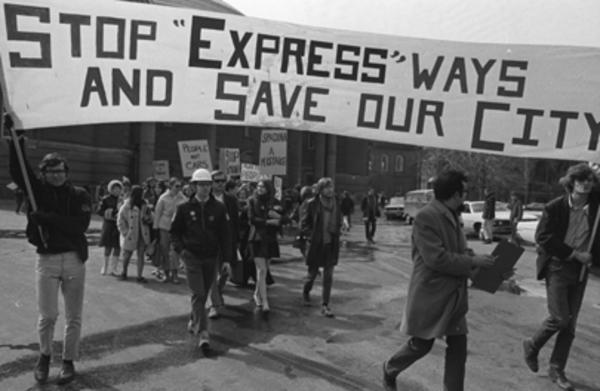 black and white photo of protest march