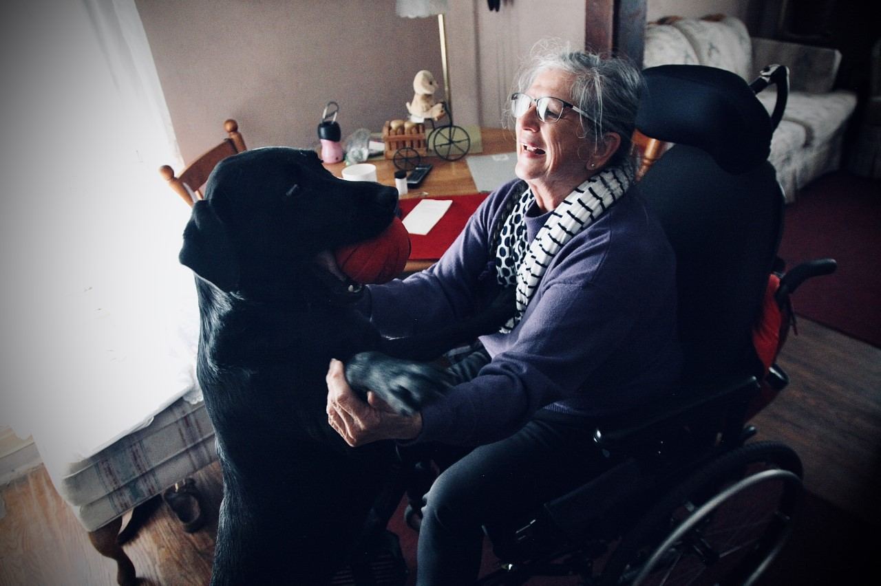 a woman with a guide dog