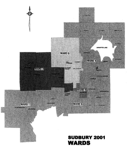 a map of Sudbury's wards