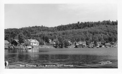 an old postcard showing cottages by a lake