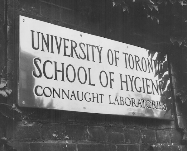 """sign reading """"Connaught Laboratories"""""""