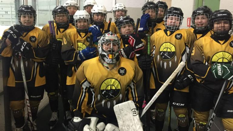 a girls hockey team posing in typical team formation