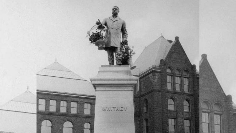 a statue of James Pliny Whitney, Ontario's 6th premier