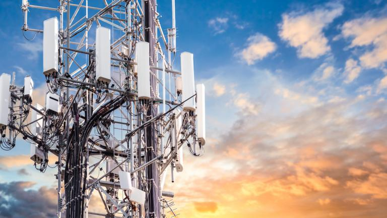 the top of a telecommunications tower from the article Why is getting — and staying — online still so difficult in eastern Ontario?