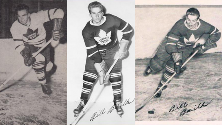 three black and white hockey cards showing a Leafs player