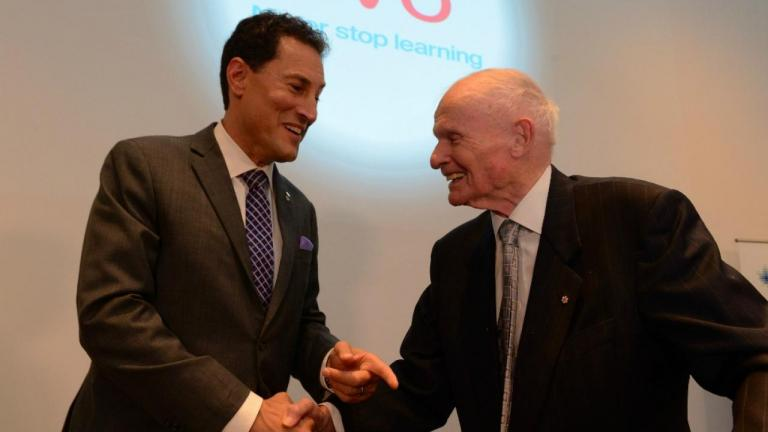 Steve Paikin and Bill Davis from the article Ontario's most beloved (and now longest-living) former premier turns 91