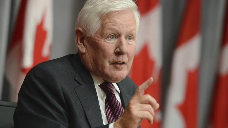 Bob Rae at a press conference