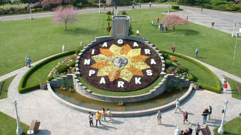 clock made of flowers