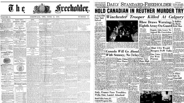 two newspaper front pages from the article 'One fire away': Why Ontario communities are digitizing their newspapers