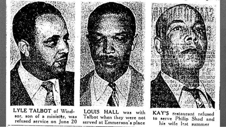 black and white headshots of three men from the article How activists fought racist restaurateurs in southwestern Ontario