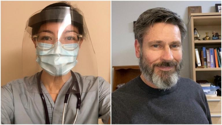 a woman in a face fask; a bearded man from the article How one Niagara medical team is REACHing out to treat the homeless