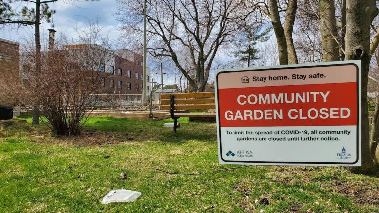 sign that says Community Garden Closed from the article During COVID-19, should community gardens be an essential service?